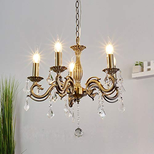 Hai Ying Led-hanglamp van koper, volledig bedrukt in één hand met romp van E14 gouden lantaarn 60 W studio voor woonkamer eenvoudige slaapkamer