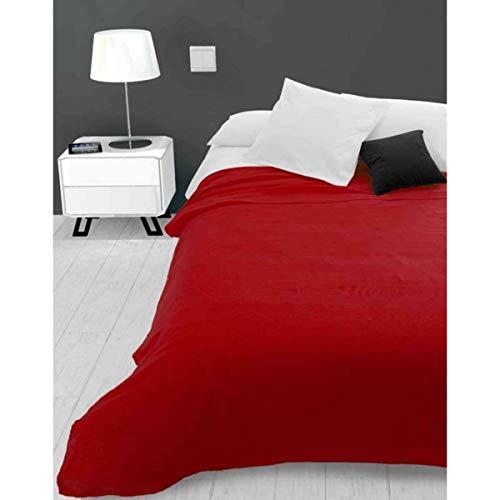 Soleil d'ocre Adele, Couvre lit, jeté de canapé, Polycoton, Rouge, 220 x 240 cm