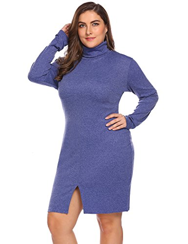 IN'VOLAND Involand Women's Plus Size Turtleneck Long Sleeve Bodycon Pencil Sweater Dress (20W, Navy Blue)
