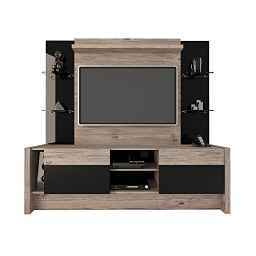 Manhattan Comfort Morning Side Entertainment Center, Nature and Black