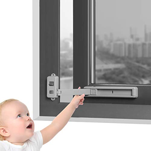 Window Restrictor Child Baby Proof Safety Lock Windows Stopper Door Anti-Theft Restrictors No Drilling Self Adhesive Latches, for uPVC Wooden Metal Aluminum Profiles