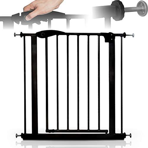 Türschutzgitter 75-85 cm (Auto-Close + Auto-Lock) ohne Bohren/Treppenschutzgitter für Baby Kind (Schwarz)