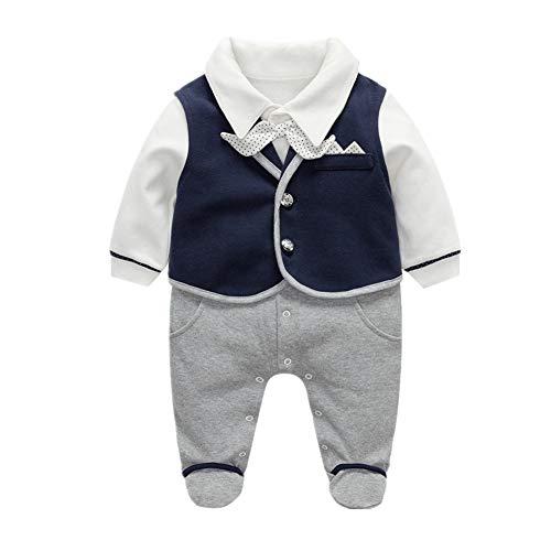Bom Bom Bom Bom Baby Jungen Smoking Strampler Pyjamas mit Fliege (Blau, 0-3 Monate)