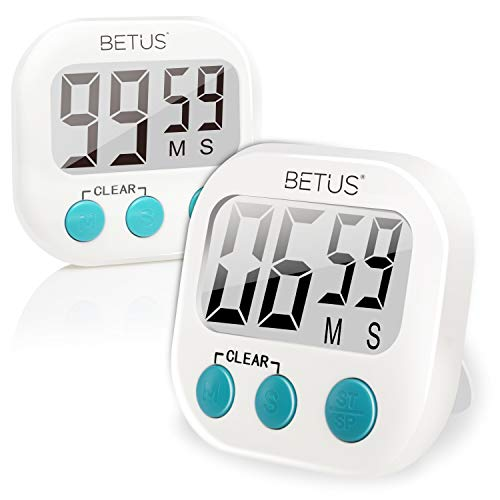 Betus 2-pack digitale kookwekker - Grote cijfers, eenvoudige bediening en luid alarm - Magnetische steun of tafelstandaard - Stopwatch Count up and down voor koken Bakken Sport Games Office