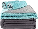 Secura Everyday Luxury Premium Adult Weighted Blanket & Removable Green Minky Cover & 2 Pillowcases (15 lbs 60 x 80 Queen Size, 100% Cotton Material with Glass Beads)