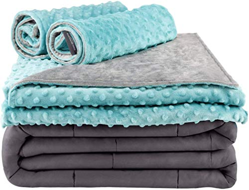 Secura Everyday Luxury Premium Adult Weighted Blanket & Removable Green Minky Cover & 2 Pillowcases (15 lbs 48 x 72 Twin Size, 100% Cotton Material with Glass Beads)