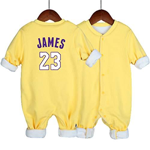 LDLXDR Uniforme de Baloncesto para bebés, número de Grupo, Pijama de bebé, más Terciopelo para Mantenerse Caliente, Mono de 0 a 15 Meses,Yellow-3,80cm