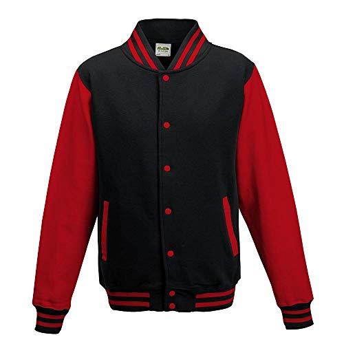 Just Hoods - Unisex College Jacke 'Varsity Jacket' BITTE DIE JH043 BESTELLEN! Gr. - M - Jet Black/Fire Red