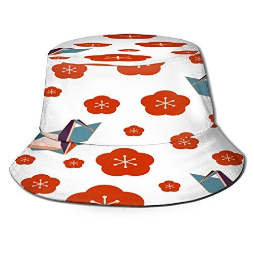 TTLUCKY Sombrero de Pesca,Patrones Sin Fisuras con Ciruelo Flores Grullas Origami,Senderismo para Hombres y Mujeres al Aire Libre Sombrero de Cubo Sombrero para el Sol