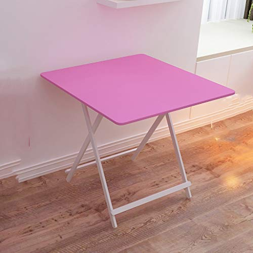 ZfgG Table Pliante extérieure Portable Portable stall Table carrée Maison Simple Apprentissage Petit Bureau Table de Balcon, Rose (Taille : 60cmx55cm)