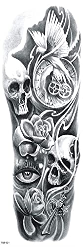Cabeza De Reloj De Flores Hueso Gris Figura Brazo Completo 17X48cm-10Pcs Pegatinas De Tatuajes Temporales Pegatinas Negras Para El Cuerpo Para Mujeres Hombres Pegatinas De Tatuaje De Brazo Grande Gr