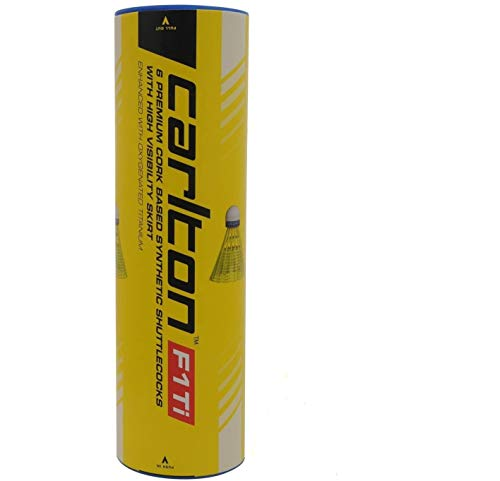 Carlton F1 Ti Synthetic Federbälle Langlebige Badminton Bälle 6 Stück Neu - Weiß, Geschwindigkeit Mittel