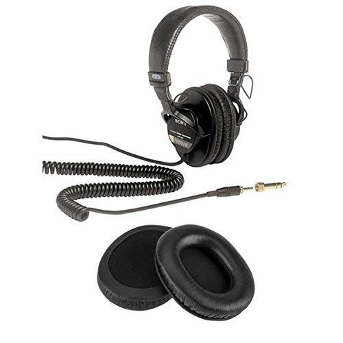 Sony MDR-7506 Professional Folding Headphones - With H&A Genuine Sheepskin Leather Earpads for Sony MDR-7506