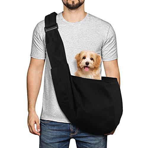 YUDODO Pet Dog Sling Carrier Adjustable Padded Shoulder Strap Dog Purse Tote Hand Free Safe Mesh Pet Sling Carrier for Small Medium Large Dog Cat (Black 8-18lbs)