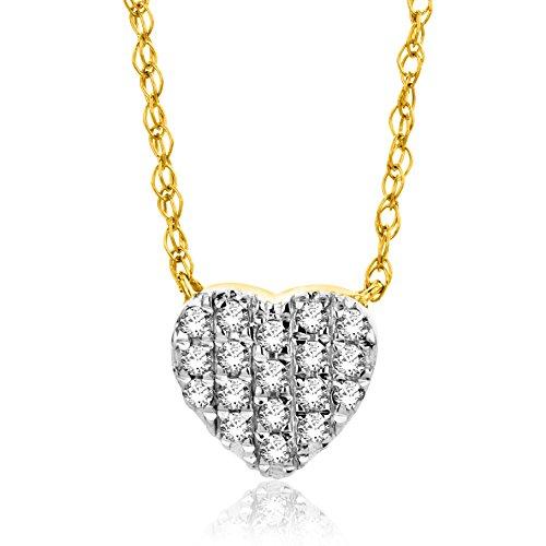 Orovi Collana - Pendente - Ciondolo Donna Cuore con Catena in Oro Giallo con Diamanti Taglio Brillante Ct 0.088 Oro 18 kt /750 Catenina Cm 45