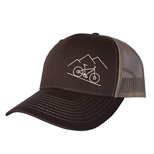 ThreadBound Outdoor Trucker Hat Snapback - Mountain Bike Design, Brown/Khaki