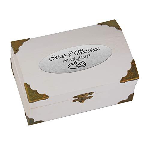 Geschenke 24 Holz-Schatzkiste weiß zur Hochzeit mit Gravur (Silber, Ringe): personalisierte Schatztruhe mit Namen und Datum graviert, Schatztruhe - Hochzeitsgeschenk, Geldgeschenk verpacken