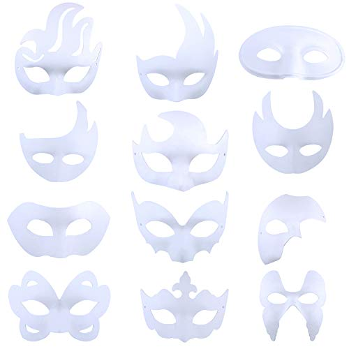 Coxeer Party Mask Creative DIY Blank Painting White Mask Costume Mask Masquerade Mask
