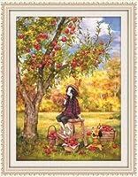 刺繡スターターキット刻印クロスステッチキット初心者漫画のリンゴの木ひまわりの女の子DIY11CT刺繡簡単面白いプレプリントパターン16x20インチ