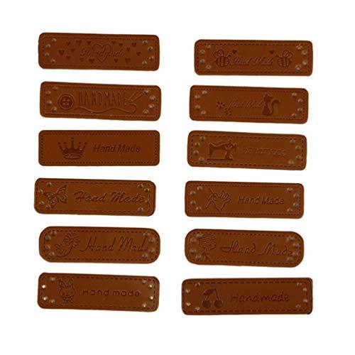Artibetter 24 piezas etiqueta de cuero de la pu etiqueta hecha a mano etiqueta adornos adornos con agujeros botón costura accesorios de ropa para jeans bolsos zapatos sombrero