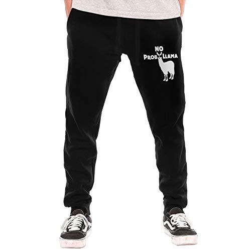 No Prob Llama Sweatpants Jogger Pant Men Fleece Pants for Outdoor Training Jogger Black