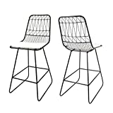 Christopher Knight Home Lilith Counter Stools, 26' Seats, Modern, Geometric, Black Iron Frames with Ivory Cushion (Set of 2)