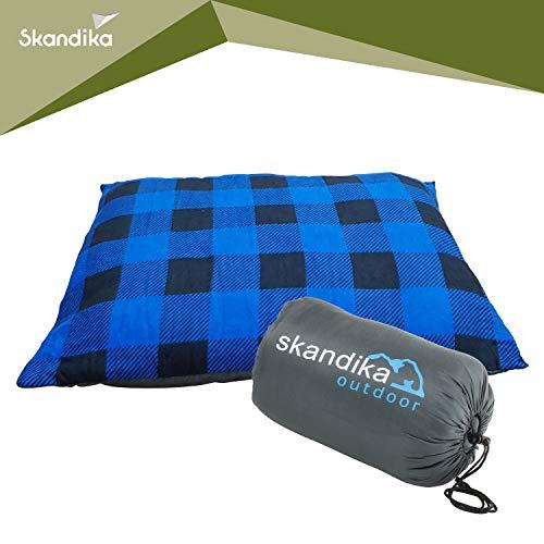 skandika Dundee Sleepyhead kuscheliges Kopfkissen Flanell 65x45 cm ideal für Schlafsack, Isomatte, Reisen (blau)