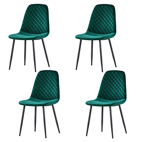 JYMTOM Esszimmerstühle 4er Set Küchenstuhl Samt Stoffsitz Wohnzimmerstuhl Sessel mit Metallbeinen Rückenlehne Büro Wohnmöbel,4PC Grün