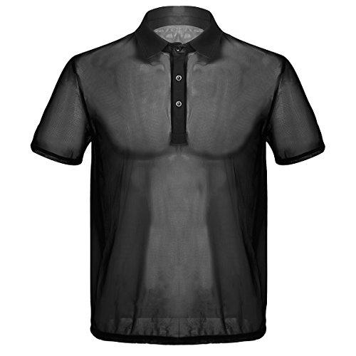 iiniim Camiseta de Malla Hombre Transparente con Cuello Polo Men's T-Shirt Sexy Verano Manga Corta Camisa Negro Respirable Traslúcido Traje Club Lencería Adultos Clubwear