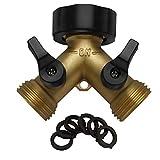 IPOW Solid Brass Body Backyard 2 Way Y Valve Garden Hose Connector Splitter...