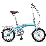 DJYD 16' Falträder, Erwachsene Kinder Mini Single Speed faltbares Fahrrad, Aluminiumlegierung leichte, tragbare Folding Stadt-Fahrrad, Beige FDWFN (Color : Blue)