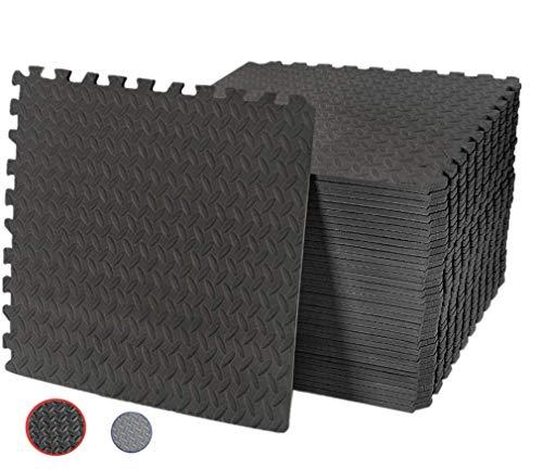 Tappeto da fitness a puzzle,Tappeto di Protezione Tappetini a Puzzle per Pavimento, Morbido e Fermo, Antiscivolo, 60cm x 60 x 1cm (Nero, 32 pezzi)