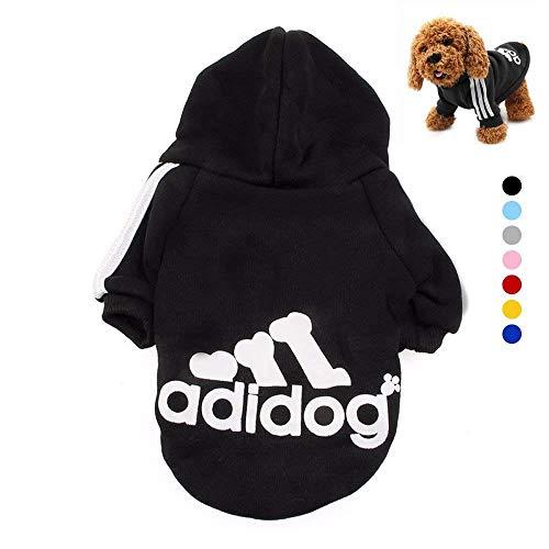 Ideapark Adidog HundeKleidung Warme Hoodies Mantel T-Shirt Kleidung Pullover Haustier Welpen Sportliches Design Kapuzenmantel-Mantel-Kleidung für großen Hund (M, Schwarz)