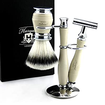 3 Piece Traditional Wet Shaving Set >> Double Edge Shaving Razor & Synthetic Eco-Friendly Badger Shaving Brush + Dual Stand - Classic Ivory Colour - Gift Set