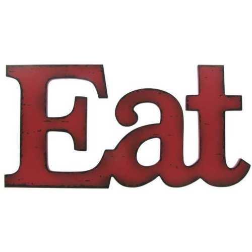 Toysdone Eat Red Wooden Farmhouse Kitchen Wall Plaque