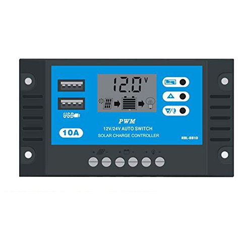 PWM 10A Solar Charger Energy Controller LCD Display with Dual USB Port 12V/24V Overload Protection