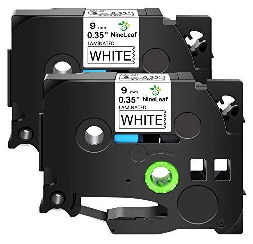 NineLeaf 2 Pack Compatible for Brother TZ221 TZe221 TZe-221 TZ-221 Laminated TZ TZe P-Touch Black on White 0.35'' 9mm 3/8'' x 26.2ft Label Tapes Work in PT-D210 PT-H100 PT-H110 D400 D600 Label Maker