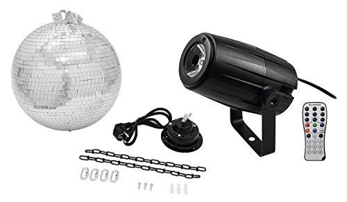 Eurolite LED PST-5 QCL Spiegelkugel Set (LED Pinspot mit einer 5-W-4in1-LED in RGBW, Memory Funkton, Montagebügel & Fernbedienung im Set inkl. motorisierter Spiegelkugel mit 30 cm Durchmesser)
