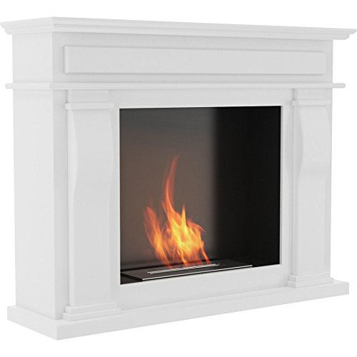 Best Review Of Denton - design white free standing fireplace portal/Bio Ethanol Fireplace in white