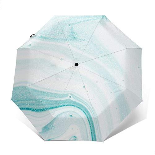 Paraguas Plegable automático, Paraguas Compacto de Viaje a Prueba de Viento, Paraguas de Patio para Mujeres Hombres niña niño Abstracto océano mármol AUT-1758