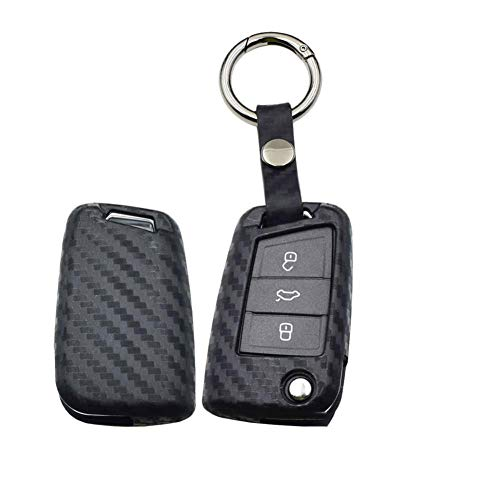 ZHHRHC Funda para Llave de Coche, para Volkswagen Golf 7 VW MK7 Nuevo Polo Skada Octavia A7 Asiento Remoto Fob Funda Protectora Bolsa