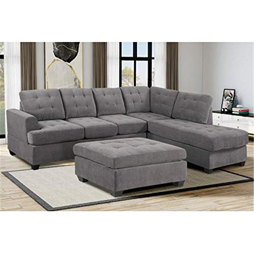 DINGZHAO Sectional Sofa Couch Set L-Shape Sofa with Right Hand Chaise Lounge and Storage Ottoman 3-Piece Sofa for Living Room Furniture,Gray