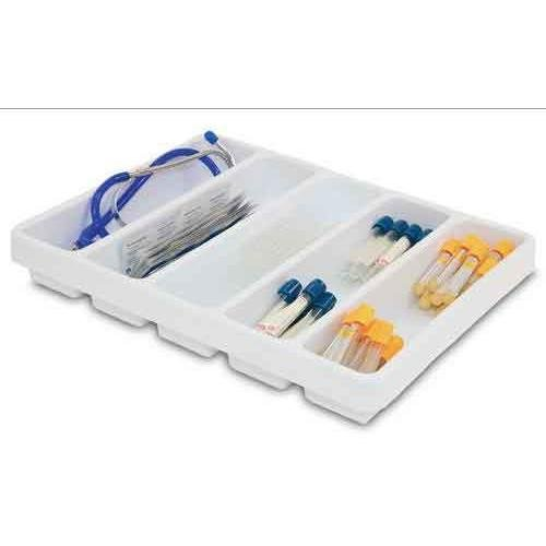 """TrippNT 50061 6 Compartment Drawer Organizer, White, Polystyrene, WHD, 19"""" Width x 2.38"""" Height x 17.5"""" Depth"""
