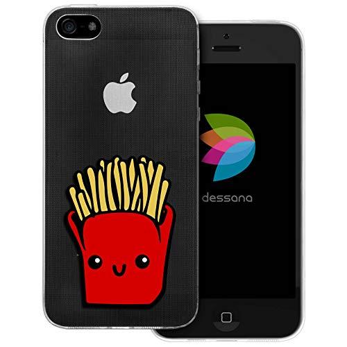 dessana Comic Food - Cover trasparente per Apple iPhone 5/5S/SE patatine fritte