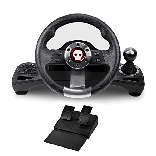 Numskull Pro Steering Wheel with Pedals and Gear Stick - For Playstation 3, PS4, PC, and Xbox One - Realistic Steering Wheel Controller Accessory for Console Car Racing Simulator Driving Games