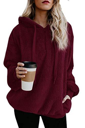 ReachMe Womens Oversized Sherpa Pullover Hoodie with Pockets Fuzzy Fleece Sweatshirt Fluffy Coat(A Burgundy,L)