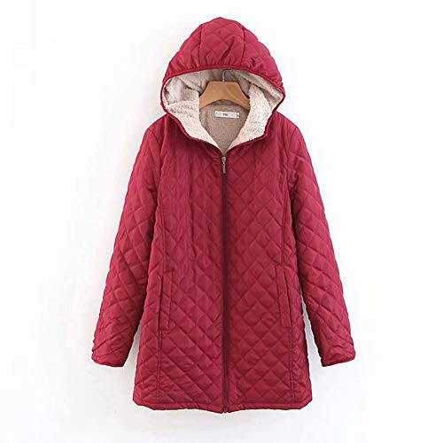 Froomer Parker Coat 2019 Winter New Mid-Long Diamond Plaid Loose Hooded Candy Color Coat Jacket Wine Red XL
