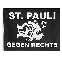 Flagge schwarz Motiv St. Pauli gegen Rechts 90x120 cm von Club Licenced