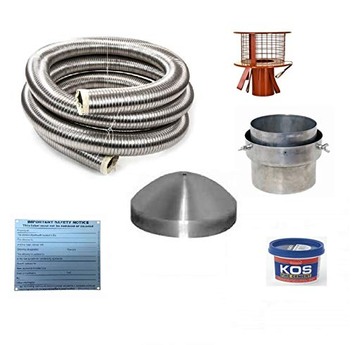 6 Metre 5' 904 Flexible Multifuel Stove Flue Liner Pack/Kit with Hanging Cowl Stainless Steel Class...