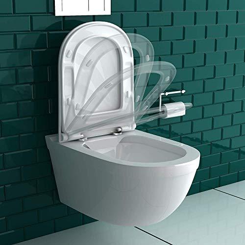 Wand-WC Spülrandlos Weiss Keramik Hänge Toilette inkl. Duroplast WC-Sitz mit Soft-Close Funktion passt zu GEBERIT - 3